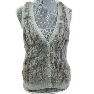 A/X ARMANI EXCHANGE rabbit fur wool blend vest